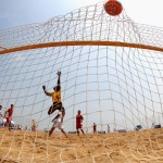HAIYANG, CHINA - JUNE 16:  Trang D Huang of Vietnam misses a save during the Men's Beach Soccer Preliminary match between Vietnam and Palestine on Day 0 of the 3rd Asian Beach Games Haiyang 2012 at Fengxiang Beach on June 16, 2012 in Haiyang, China.  (Photo by Ryan Pierse/Getty Images)