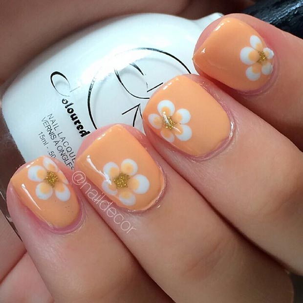 Peach Color Nail Designs Nail Design in Peach Color