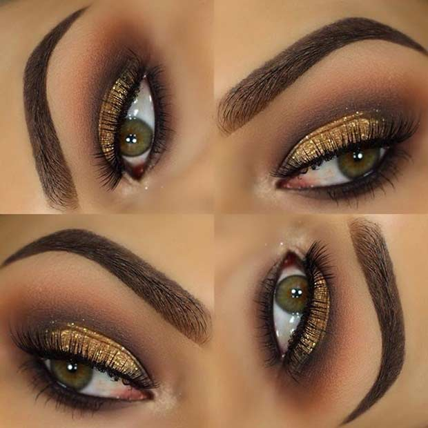Elegant Gold Glitter Eye Makeup Look