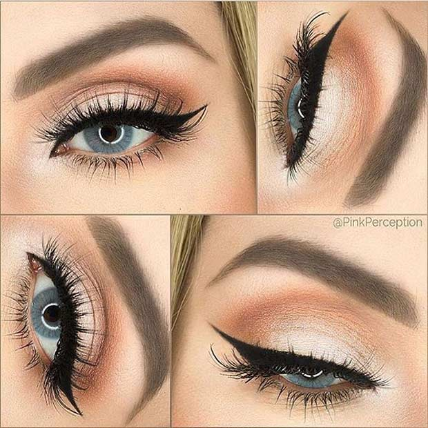 Soft Peach Wedding Makeup Look for Blue Eyes