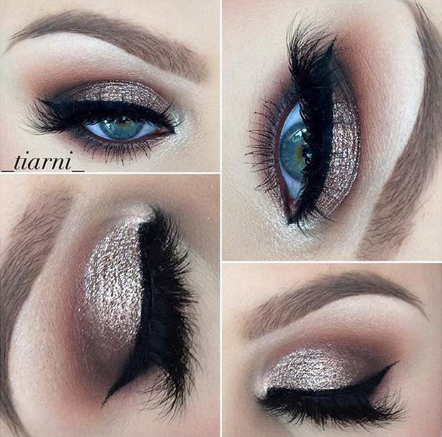 Sparkly and Smokey Wedding Makeup Look