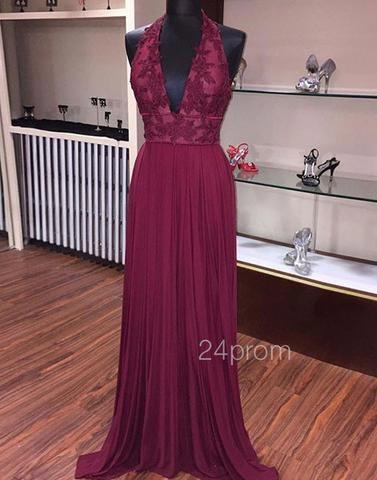 Long Burgundy Lace Prom Dress