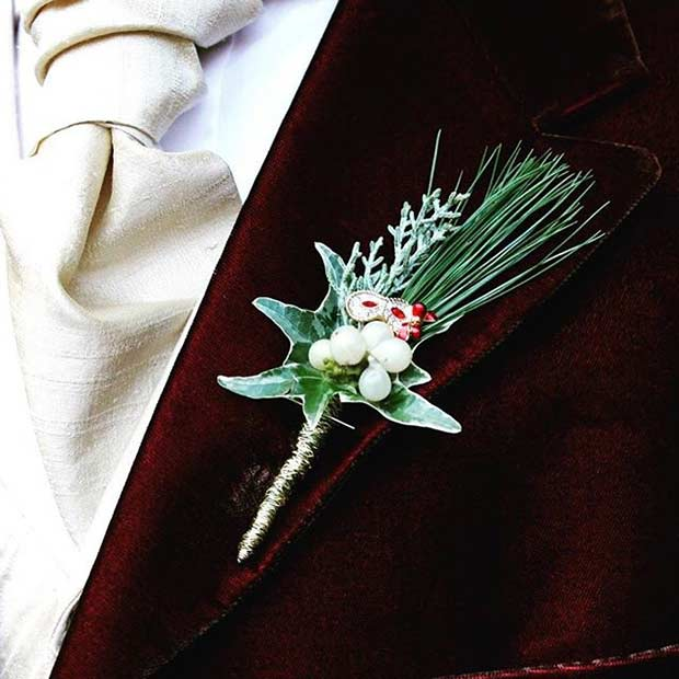 Mistletoe Boutonniere Idea for a Winter Wedding