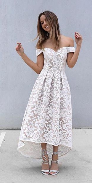 High Low Prom Dress in White