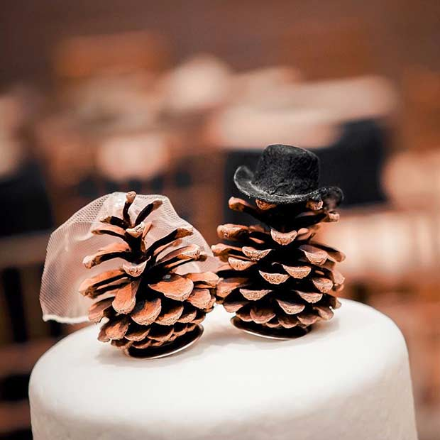 Winter Wedding Pinecone Cake Toppers