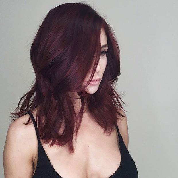 Deep Red Long Bob Haircut Idea