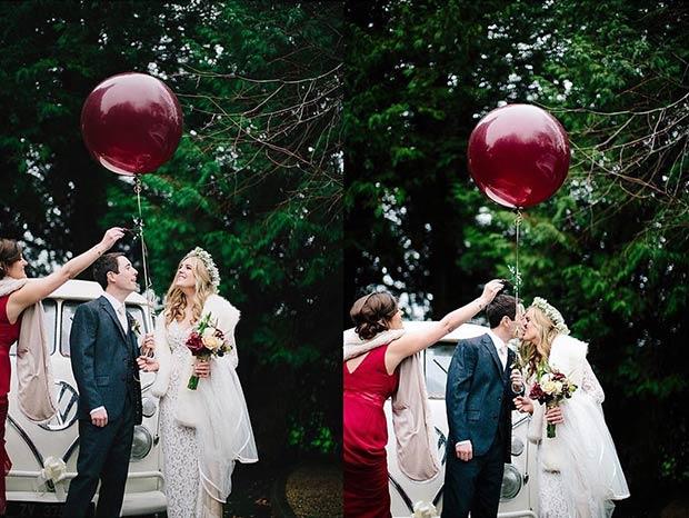 Winter Wedding Mistletoe Kiss Bride and Groom