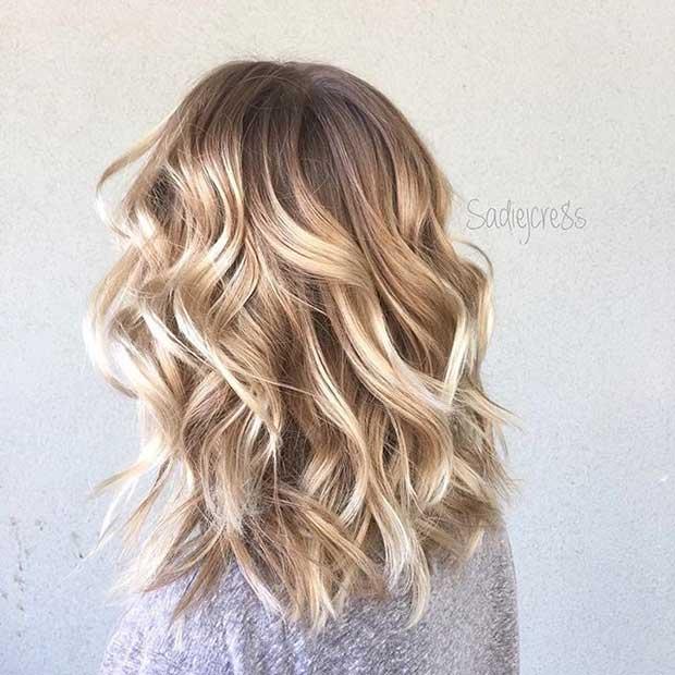 Curly Blonde Long Bob Haircut Idea