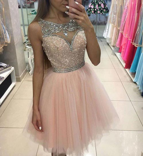 Sparkly Light Pink Short Prom Dress