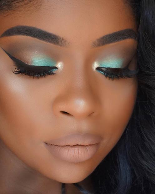 Teal Mint Smokey Eye Makeup for Dark Skin
