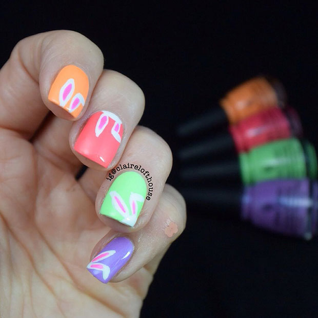 Bright and Colorful Easter Nail Art Design