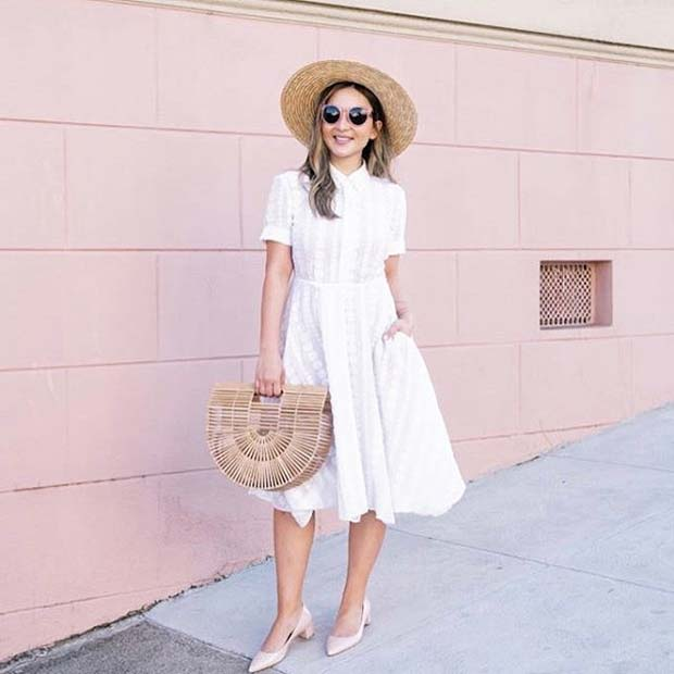 White Dress for Spring 2017 Women's Outfit Idea