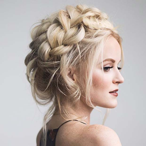 Blonde Braided Updo for Prom