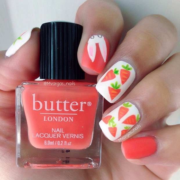 Bright Red Easter Nail Design with Carrots