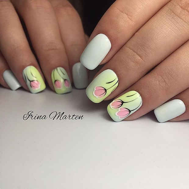 White Nails with Pink Tulip Style Nail Art for Spring 2017