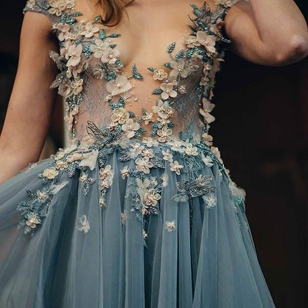 Embellished Floral Gown for Spring Wedding Dress Inspiration