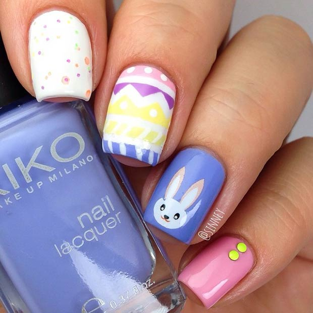 Colorful Rabbit Nail Art Design for Easter