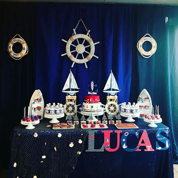 Nautical Theme Table for Boy's Baby Shower