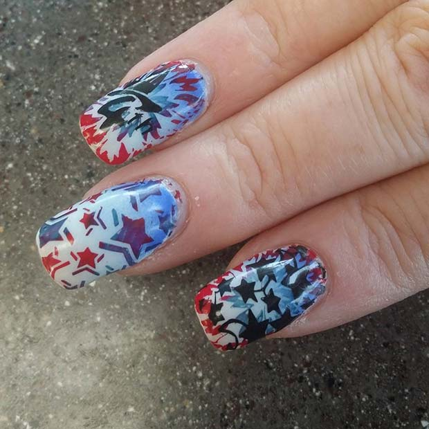 Funky Star Art for 4th July Nail Design Idea