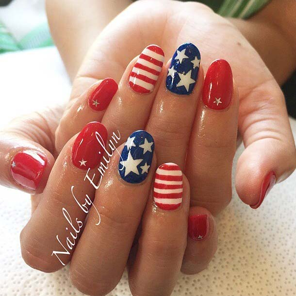 Red, White and Blue Stars and Stripes 4th Of July Nail Design Idea