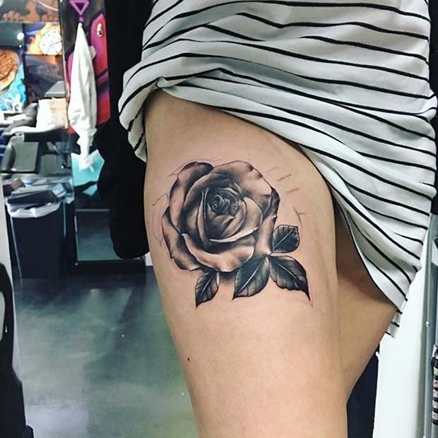 Shaded Rose Thigh Tattoo Idea