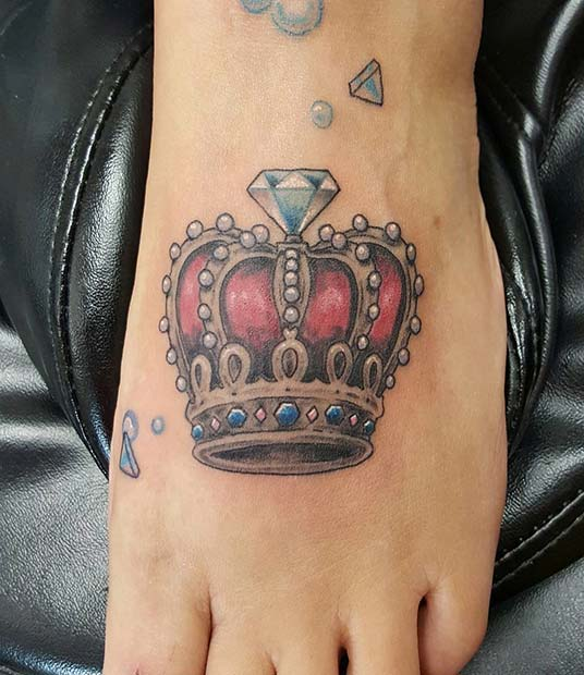 Diamond and Crown Foot Tattoo Idea for Women