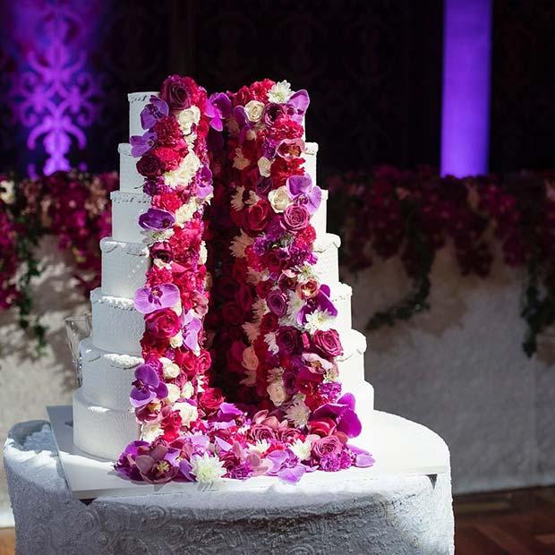 Unique Floral Split Cake for Summer Wedding Cakes