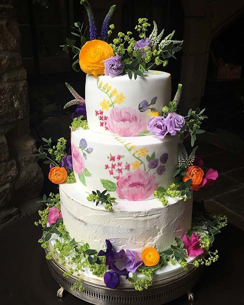 Painted Floral Cake for Summer Wedding Cakes