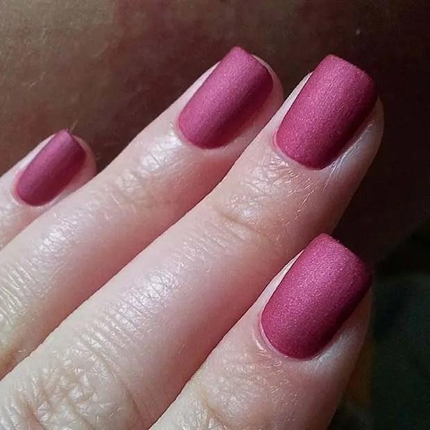 Dark Pink Matte Nails