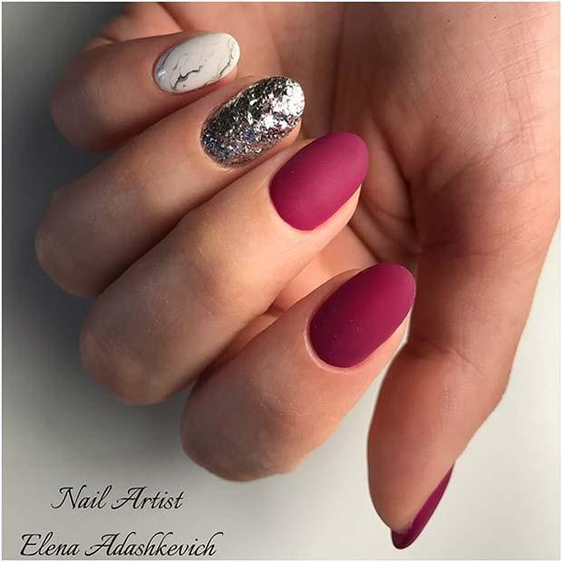 Glitter, Marble and Matte Nail Art
