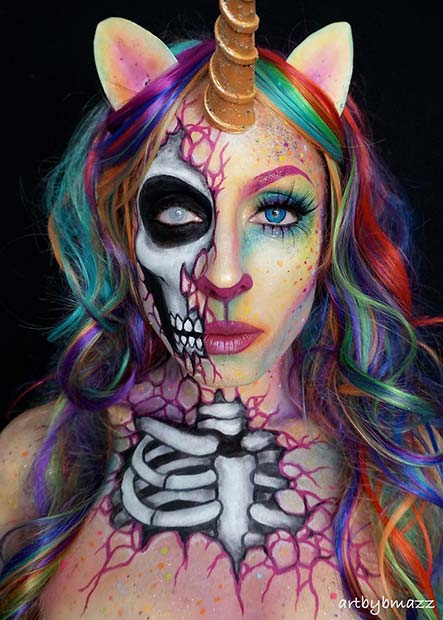Half Dead Rainbow Unicorn Halloween Makeup