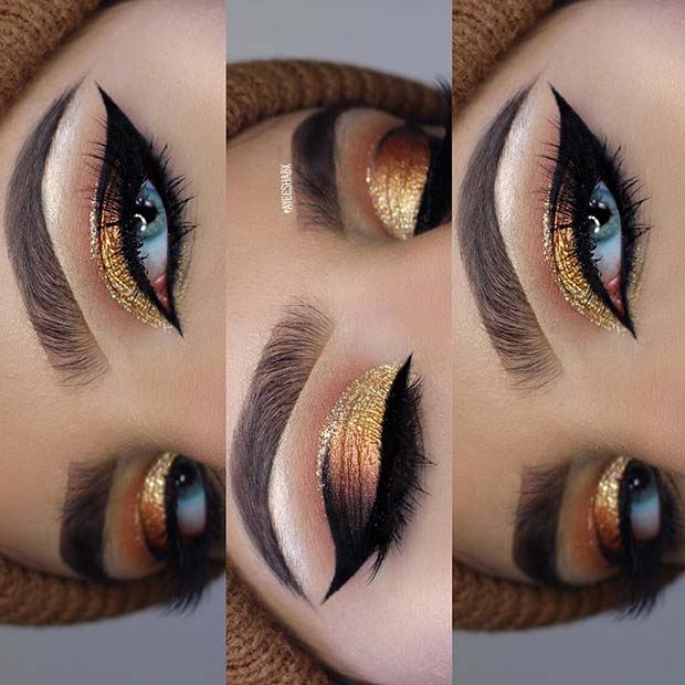 Gorgeous Gold Glitter Makeup for Thanksgiving Dinner