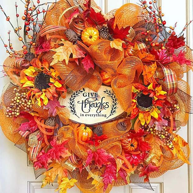 Vibrant Autumn Wreath for Thanksgiving