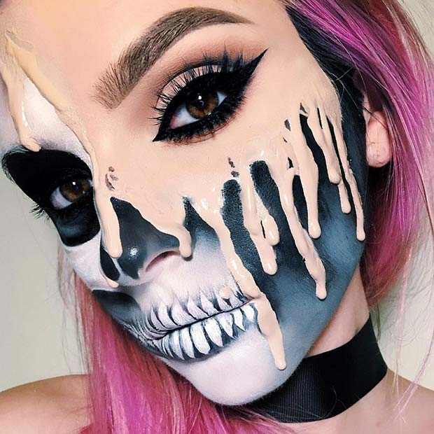 Melting Skeleton Halloween Makeup
