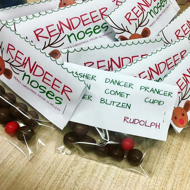 Reindeer Nose Chocolates for DIY Christmas Gift Ideas