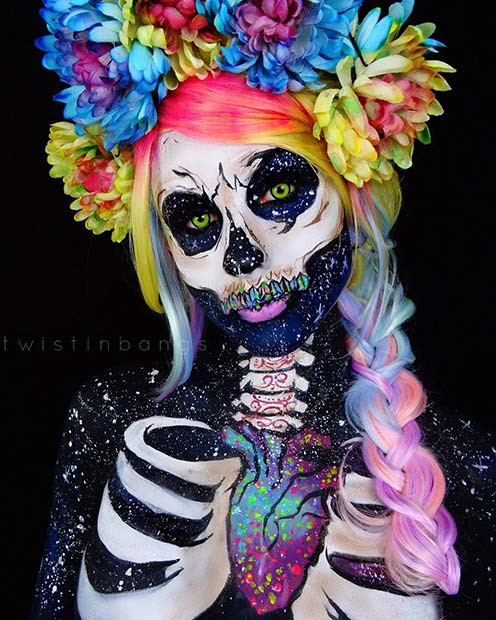 Vibrant Skeleton Halloween Makeup
