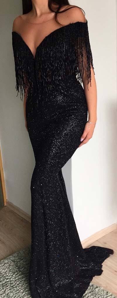 Chic Black Tassel Prom Dress