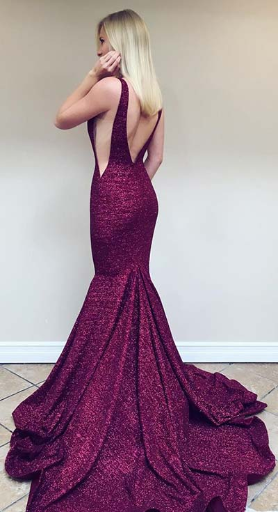 Burgundy Backless Prom Dress