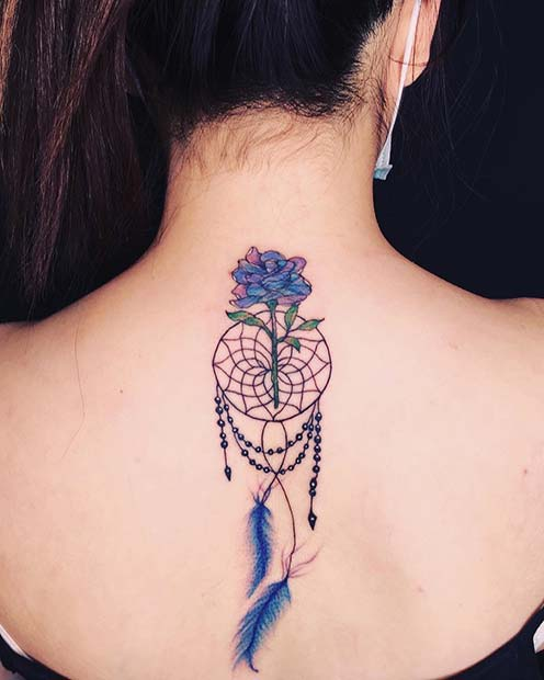Blue Dream Catcher Tattoo on Back