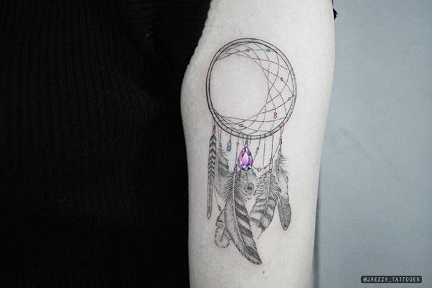 Delicate Dream Catcher Tattoo with Jewel