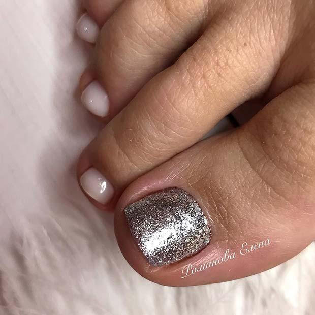 Silver Glitter and White Toe Nail Design