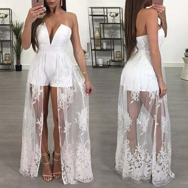 All White Playsuit with Lace Overlay
