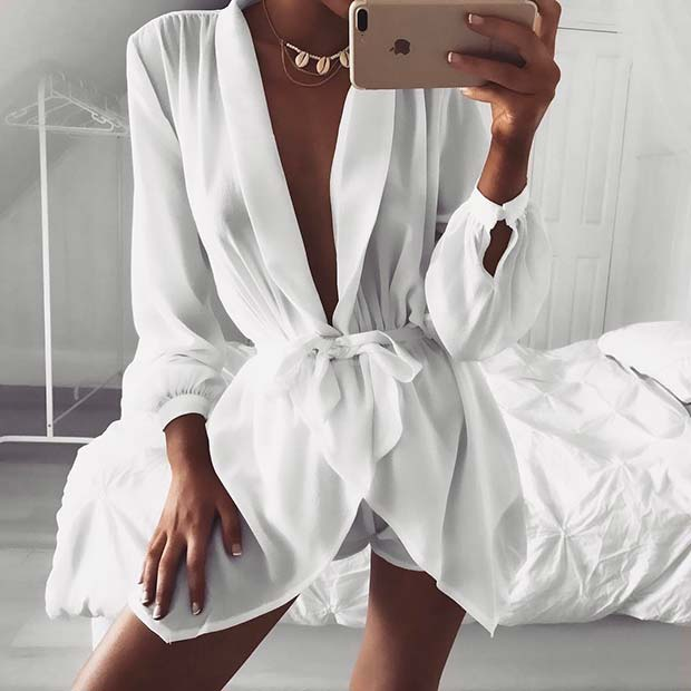 All White Party Playsuit Outfit