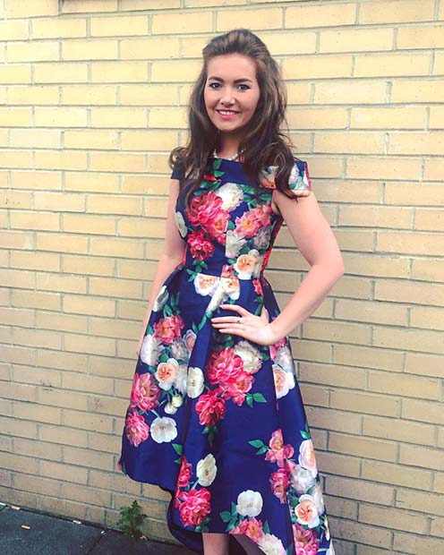 Bold Blue Floral Dress Idea