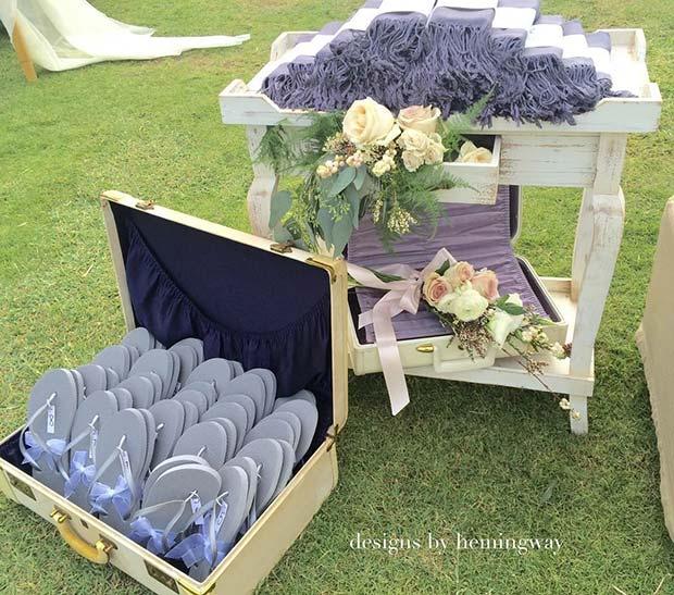 Flip Flops and Blanket Idea for an Outdoor Wedding