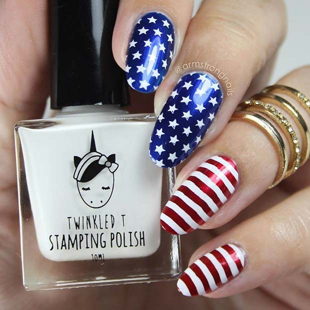 Metallic Stars and Stripes Nails