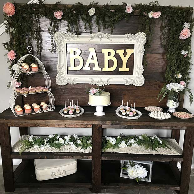 Stylish Shabby Chic Baby Shower Theme