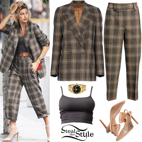 Hailey Baldwin Clothes   Outfits   Steal Her Style Hailey Baldwin  Check Blazer and Crop Pants