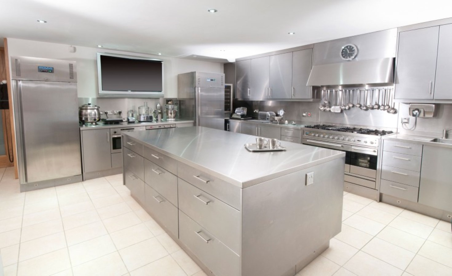 fascinating stainless steel countertop and kitchen furniture set design feat contemporary white floor tile idea1