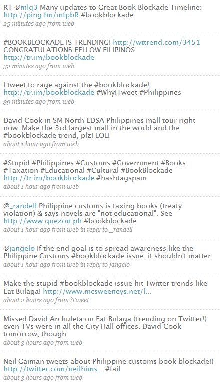 Today in the Philippine Twittersphere: fighting the Book Blockade